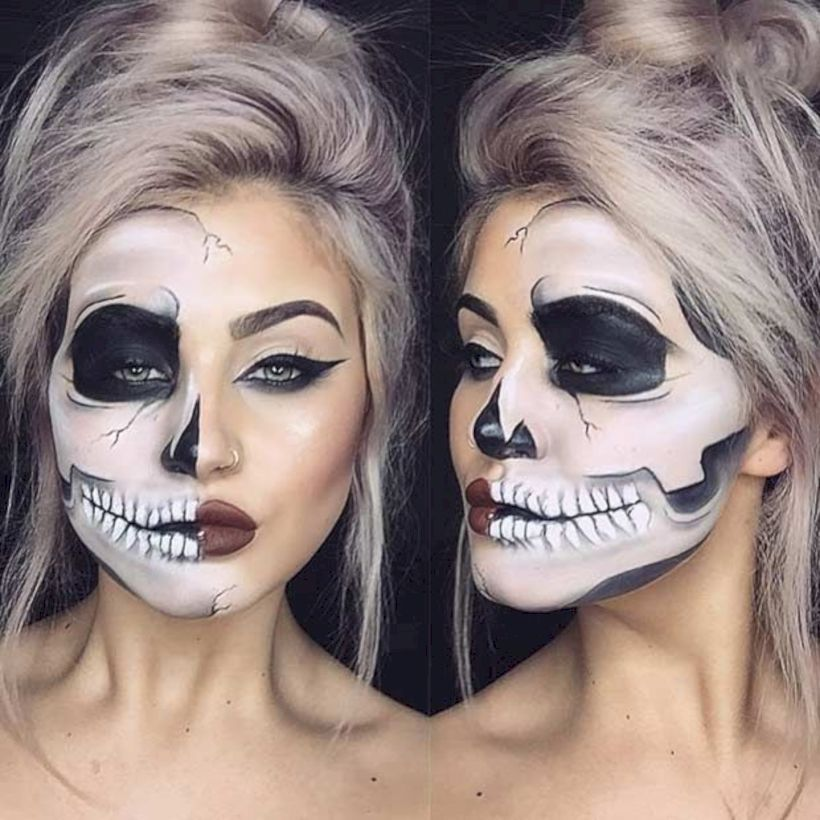 50+ Gorgeous Skull Makeup ideas To Try 2018 Halloween img 1